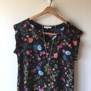 PLEIONE floral pleated blouse